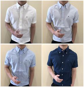 New-Tommy-Hilfiger-Shirt-Mens-Short-Sleeve-Button-down-Custom-Fit-casual-shirt