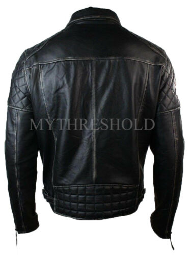 Men/'s Brando Style Classic Black Distressed Biker Leather Jacket