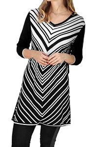 UK-Size-12-22-CLEARANCE-Ladies-Black-White-Striped-V-Long-Tunic-or-Dress