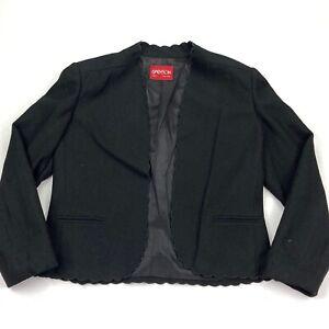 VTG Sasson Women's Wool Open Front Blazer Jacket Frills Black • Size 12/13