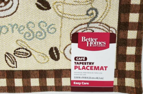"""COFFEE TYPES 13/"""" x 19/"""" w//brown back BH/&G Set of 4 Tapestry Kitchen Placemats"""
