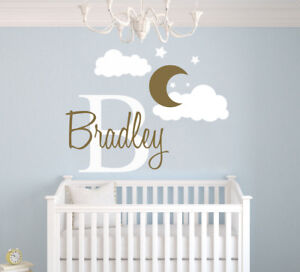 Details About Custom Name Initial Moon Clouds Nursery Wall Decal For Baby Boy Room