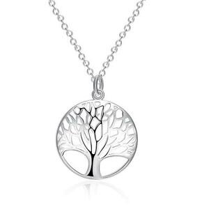 925-Sterling-Silver-Plated-Tree-of-Life-Pendant-Chain-Necklace-Jewelry-K-H