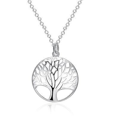 925 Elegante Chapado En Plata De Ley árbol de la vida Collar Cadena Colgante