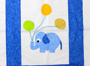 Nice hand applique elephant baby quilt top ready for quilting
