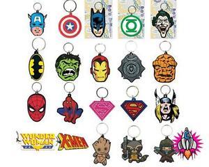 OFFICIAL-marvel-amp-DC-comics-caoutchouc-porte-cle-porte-cle-super-heros-cle-anneaux