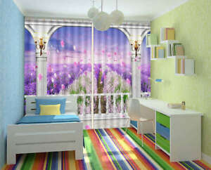 Nice-Lavender-Fairyland-3D-Curtain-Blockout-Photo-Printing-Curtains-Drape-Fabric