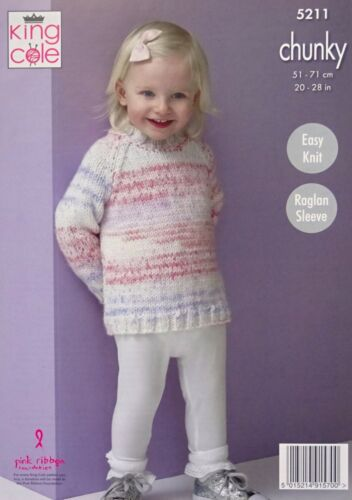 KNITTING PATTERN Girls Very Easy Knit Cardigan /& Jumper Chunky King Cole 5211