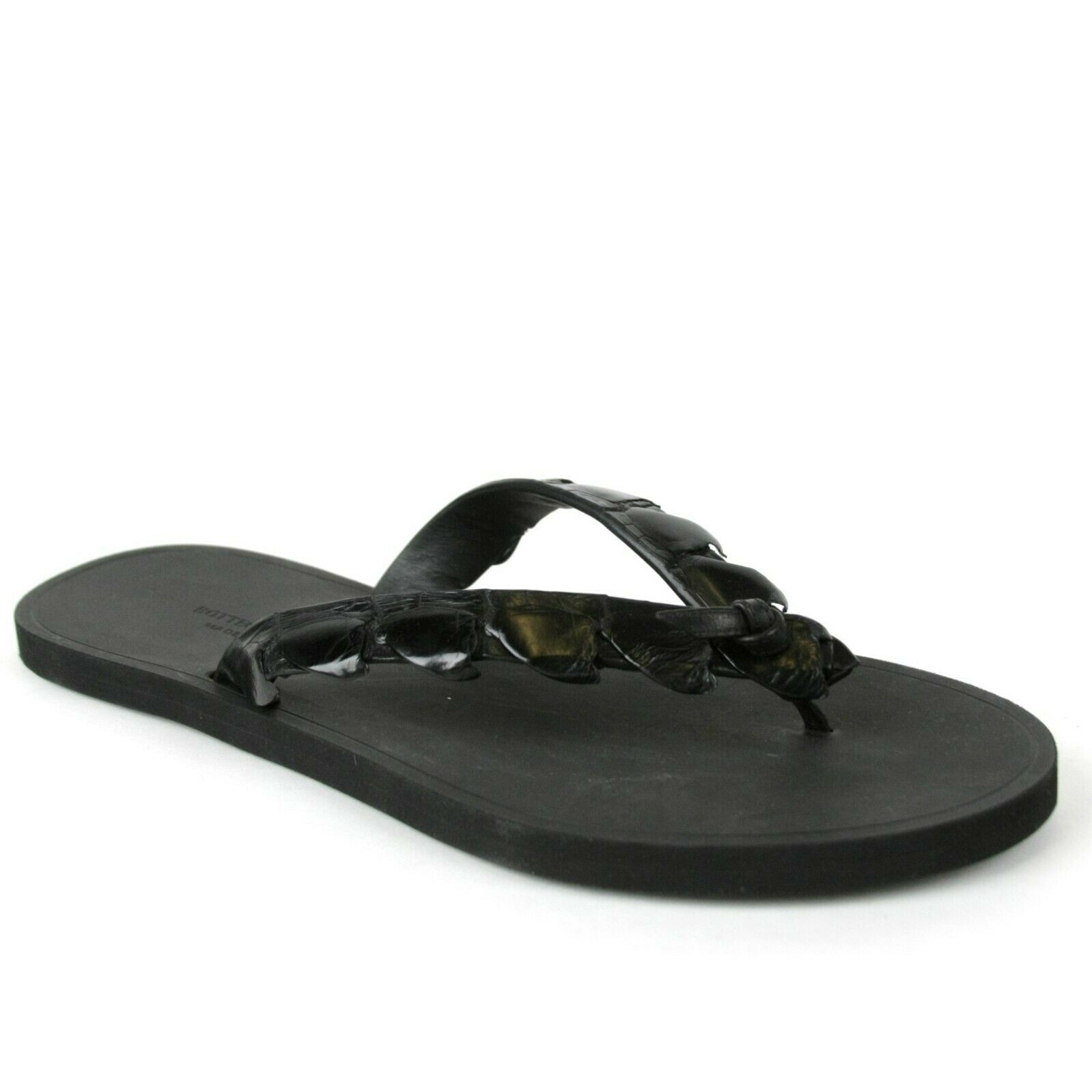 Bottega Veneta Men's Black Crocodile Leather Thong Sandal 298725 1000 | eBay