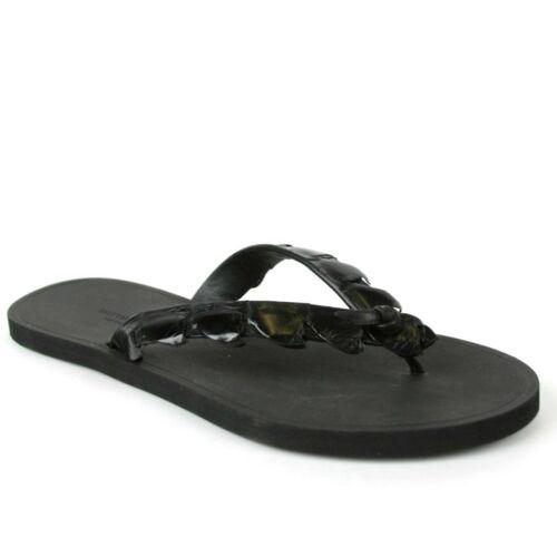 $620 Bottega Veneta Men/'s Black Crocodile Leather Thong Sandal 298725 1000