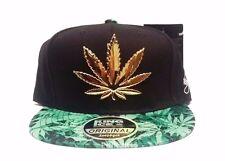 New 3D Cannabis Leaf Weed Marijuana Black Snapback Hat Cap Mens Womens Unisex