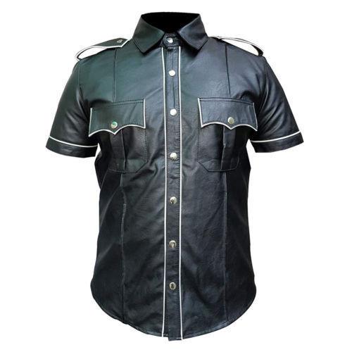 Para hombres Cuero Negro Real Policía Militar Estilo Camisa Gay bluf Camisa Caliente Todas Las Tallas