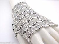 Bracelet Women Slave Glove Heavy Beaded Cuff Stretch Silver Tone