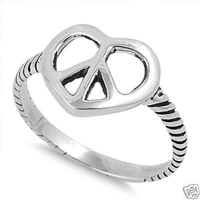 USA Seller Peace Symbol Ring Sterling Silver 925 Best Price Jewelry Selectable