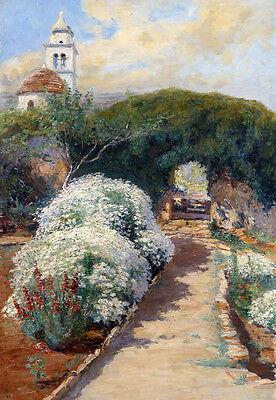 Stunning Oil painting spring landscape with white flowers and church on canvas