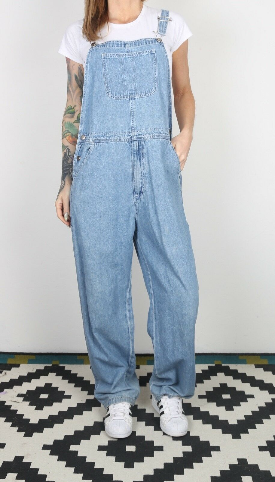 Denim Dungarees Medium Fitted  10 Small Oversized Wide Leg  (X2F)