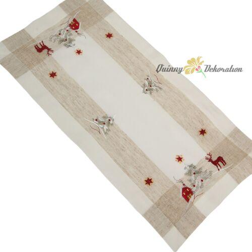 Noël Chemin de table// Nappe// Napperon rouge crème renne optique de lin