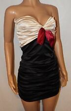 VICKY MARTIN satin black red mini strapless ruched bodycon party dress BNWT 8 10