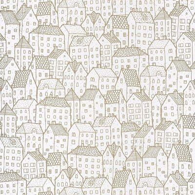 Whimsical Gold & Off White Sweet Houses Illustration Wallpaper - 10m Roll NEW!