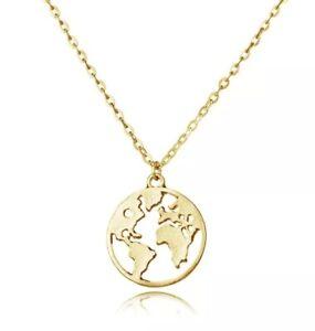 Kette-Weltkarte-in-Gold-Halskette-Globus-Anhaenger-Blogger-Kette-Landkarte