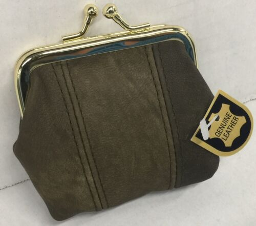 Gold coast women Genuine leather kiss lock change//coin purse Brown New