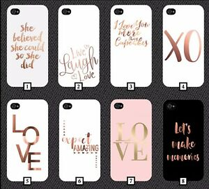 san francisco d56e6 72bca Details about Rose Gold Quotes Phone Case Cover Design White and Black  Pattern Quote 297