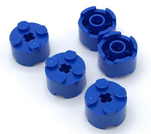 Lego 5 New Blue Bricks Round 2 x 2 with Axle Hole Pieces