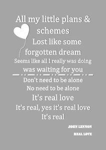 John Lennon Real Love Monty Le Pingouin John Lewis Lyric Print a4 Saint Valentin