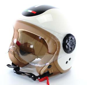 Retro-Jethelm-URBAN-Style-Creme-Italy-Vespa-Roller-Helm-M-9073n-Ersatzvisier