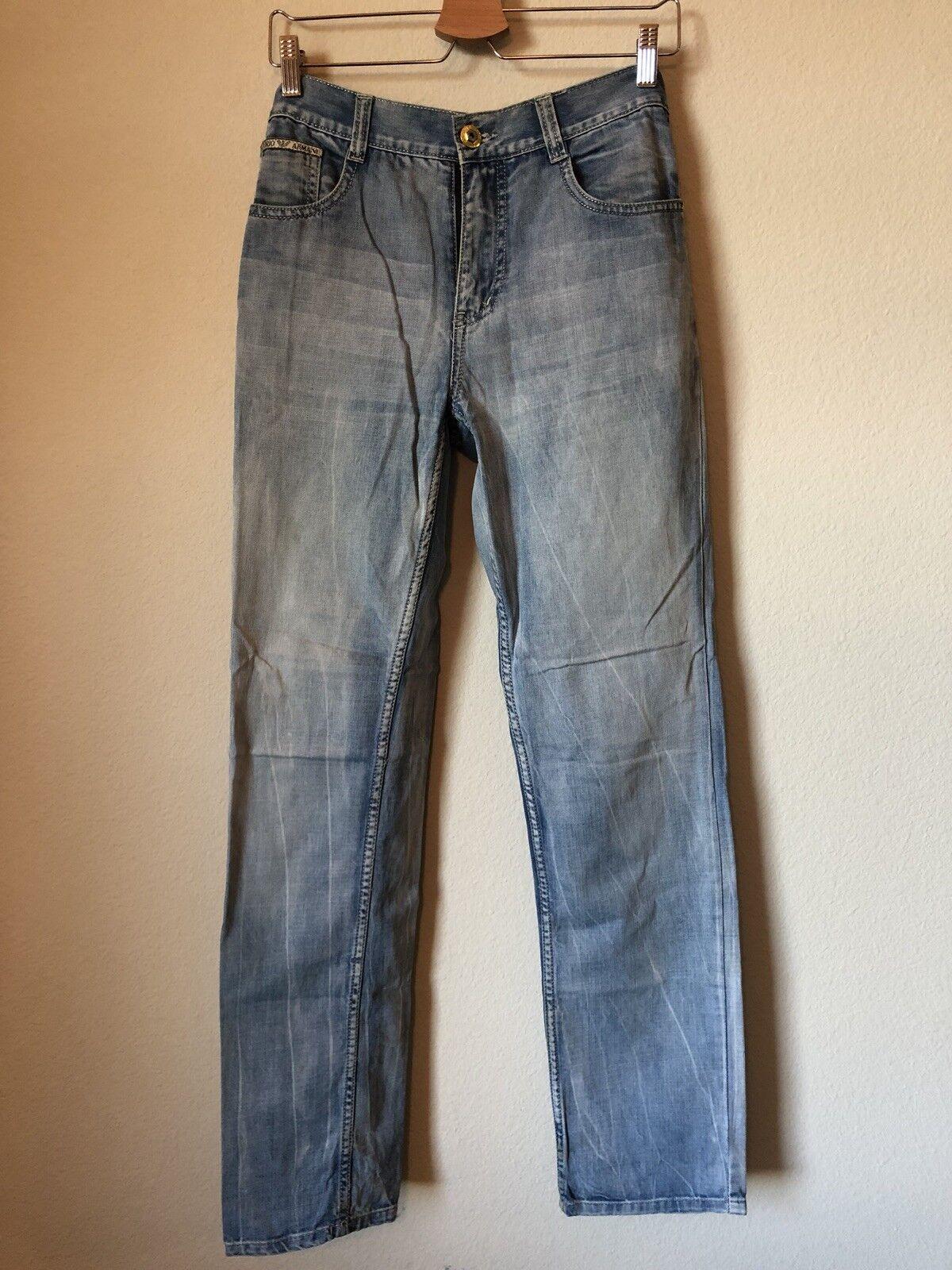 Emporio ARMANI hombres Jeans  33 X 32 SLIM FIT pierna recta luz del cielo azul Algodón  nueva gama alta exclusiva