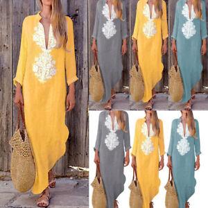 Womens-Loose-Paisley-Cotton-Linen-Kaftan-Dress-Long-Sleeve-Long-Maxi-Dresses-TP