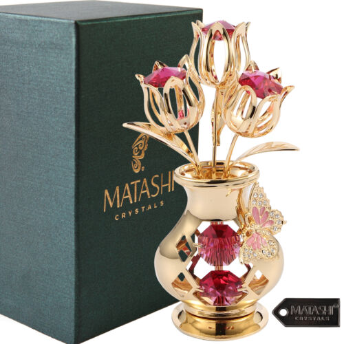 Matashi 24K Gold Plated Crystal Flower Ornament Vase with Decorative Butterfly