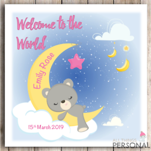 les nouveaux parents New Baby Girl Carte bienvenue dans le monde personnalisé fait main