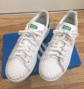 Península Mago predicción  Adidas Stan Smith White Green Woven Leather Trainers Size UK4 EU37 | eBay