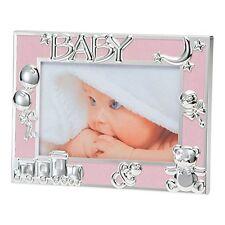 """Rosa Bebé Niña/recién Nacidos Foto Marco Plateado iconos - 6X4""""/10X15 cm BFA1015PK"""