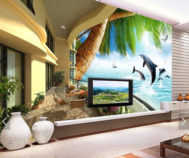 3D Balcony Dolphin 5 Wallpaper Murals Wall Print Wallpaper Mural AJ WALL AU Kyra