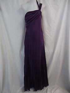 EVER-PRETTY-Maxi-Dress-Size-12-PURPLE-SATIN-Pleat-Detail-One-Shoulder-Strap-4070