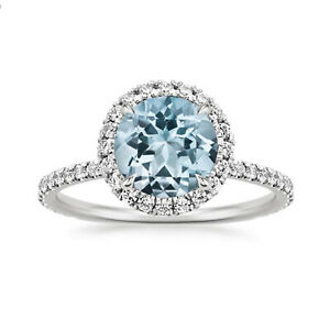 1.80 Ct Round Cut Diamond Engagement Aquamarine Ring 925 Sterling Silver Size 4