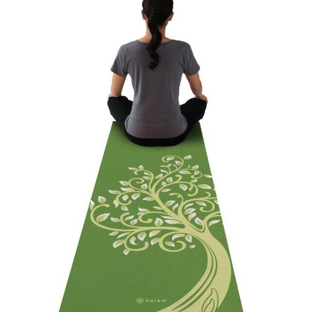 "Gaiam Yoga Mat  NEW Tree of Wisdom Print  Non Slip 68""x24"" 3mm Durable Home"