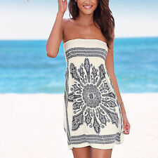 27b004a77b Boho Womens Strapless Tube Bikini Cover Up Holiday Beach Sundress Mini  Dress US