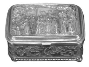 French-Antique-19th-C-Embossed-Silver-Trinket-Jewelry-Box-Case