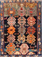Antique Geometric Animal Pictorial 4x5 Gabbeh Shiraz Persian Oriental Area Rug