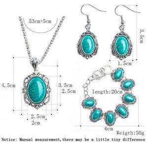 Vintage-Bohemian-Jewelry-Set-Turquoise-Pendant-Necklace-Hook-Earrings-Bracelet