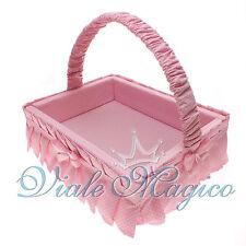 Cesto Porta Bomboniere Rosa per Nascita Battesimo Primo Comunione Confettata