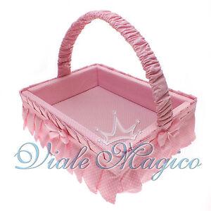 Cesto porta bomboniere rosa per nascita battesimo primo - Cesta porta neonato ...