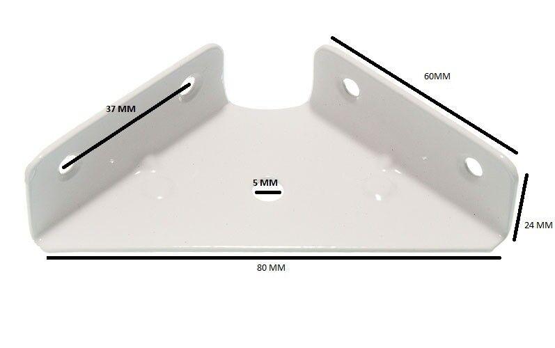 Staffa Angolare 64mm Quadrati 18mm Profonda Bianco Dipinto
