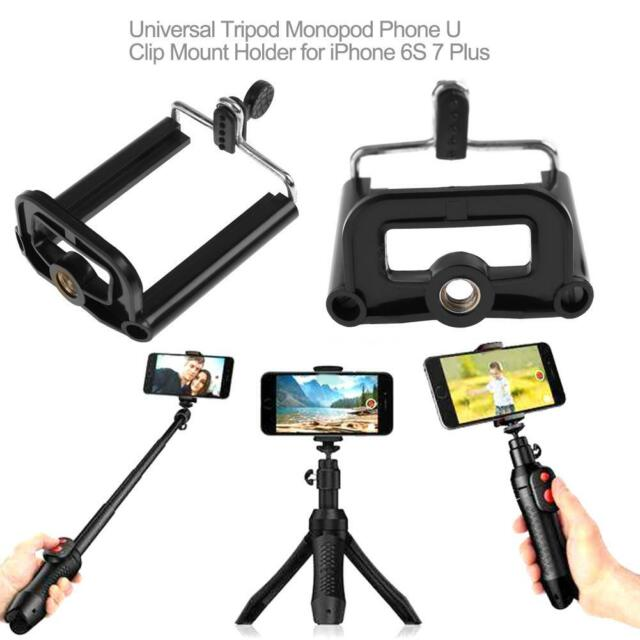 Universal Tripod Monopod Phone U Clip Mount Holder for iPhone 6S 7 8 Plus x Xr