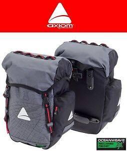 Black Pannier Set Bicycle Touring Panniers Gray Axiom Seymour Oceanweave P35