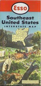 1952 Esso Road Map Southeast Us Florida Georgia Louisiana Virginia - Southeast-us-road-map