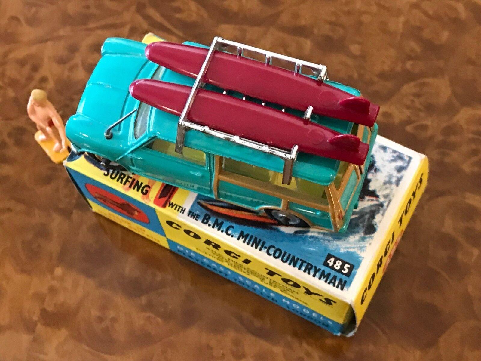 Vintage Corgi Toys MIB BMC BMC BMC Mini Countryman mit   Surfen Feilen & Fig. No. 485  | Ruf zuerst  e83a9b
